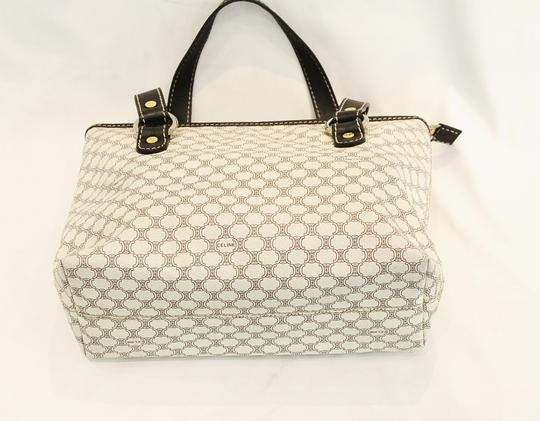Céline Tote in White and Brown Macadam