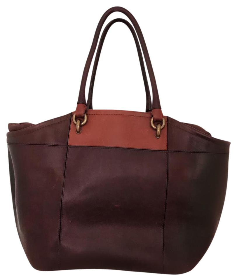 2334effaa6 Vanessa Bruno  cabas  Color-block Extra Large Box Brown Cowhide Leather Tote