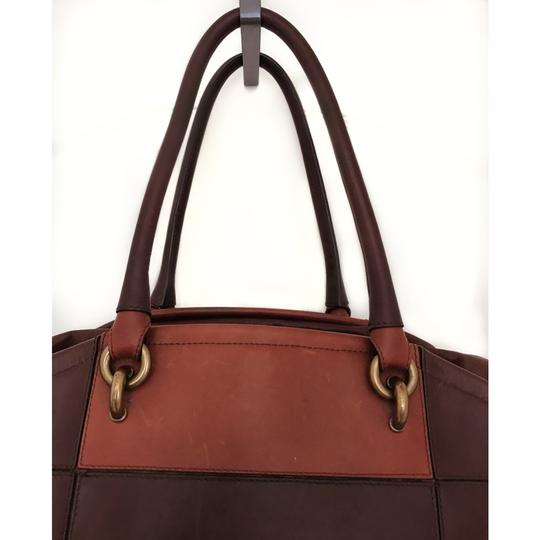 Vanessa Bruno Color-blocking Leather Classic Tote in Brown