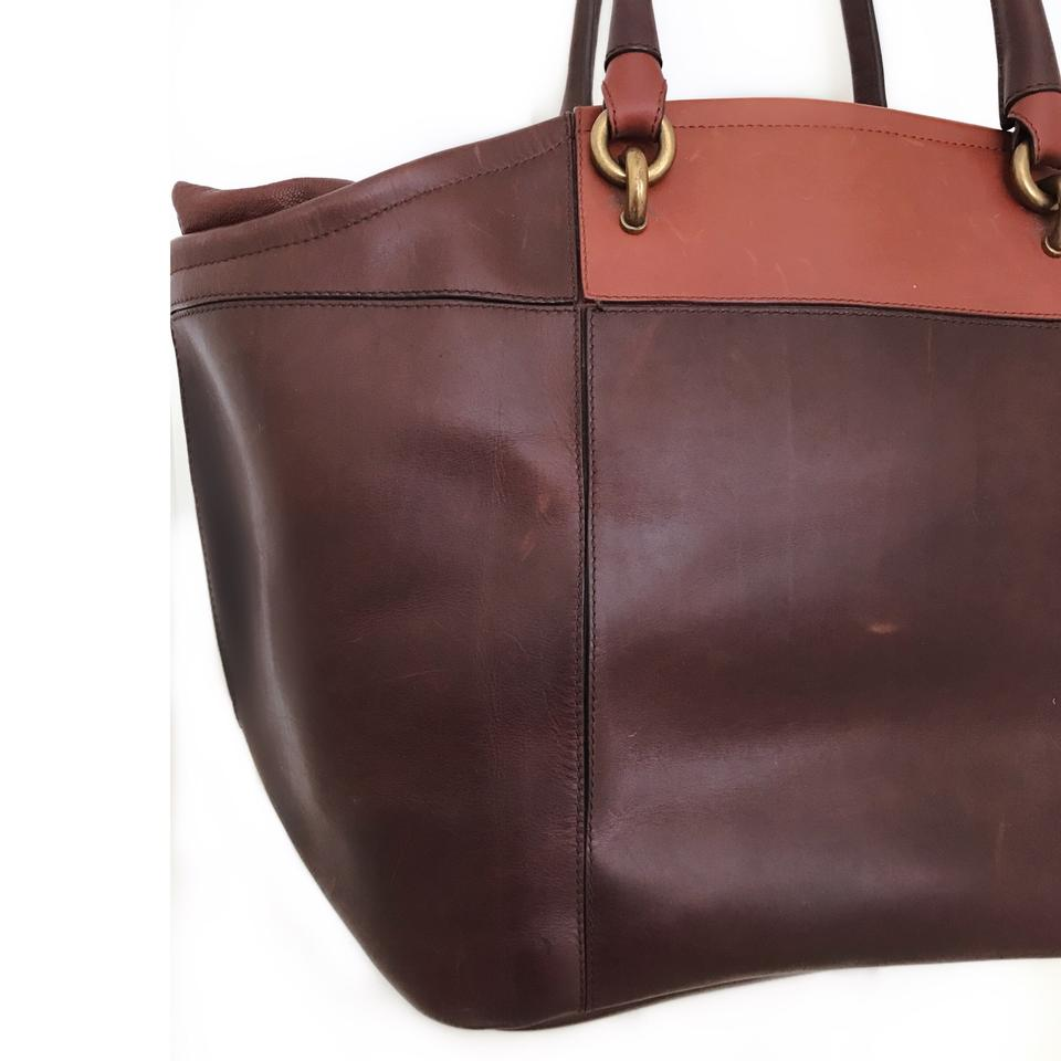 2d465510de Vanessa Bruno Color-blocking Leather Classic Tote in Brown Image 6. 1234567