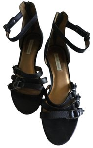 Twelfth St. by Cynthia Vincent Buckled Wedge Black Sandals