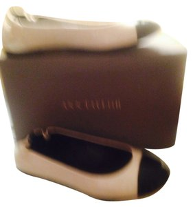 Ann Taylor Cream with Black Toe Flats