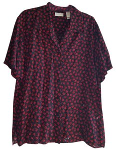 Liz Claiborne Rayon Floral Top Red black