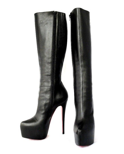 Christian Louboutin Thigh High Spikes Studs Daffodile Daf Black Boots