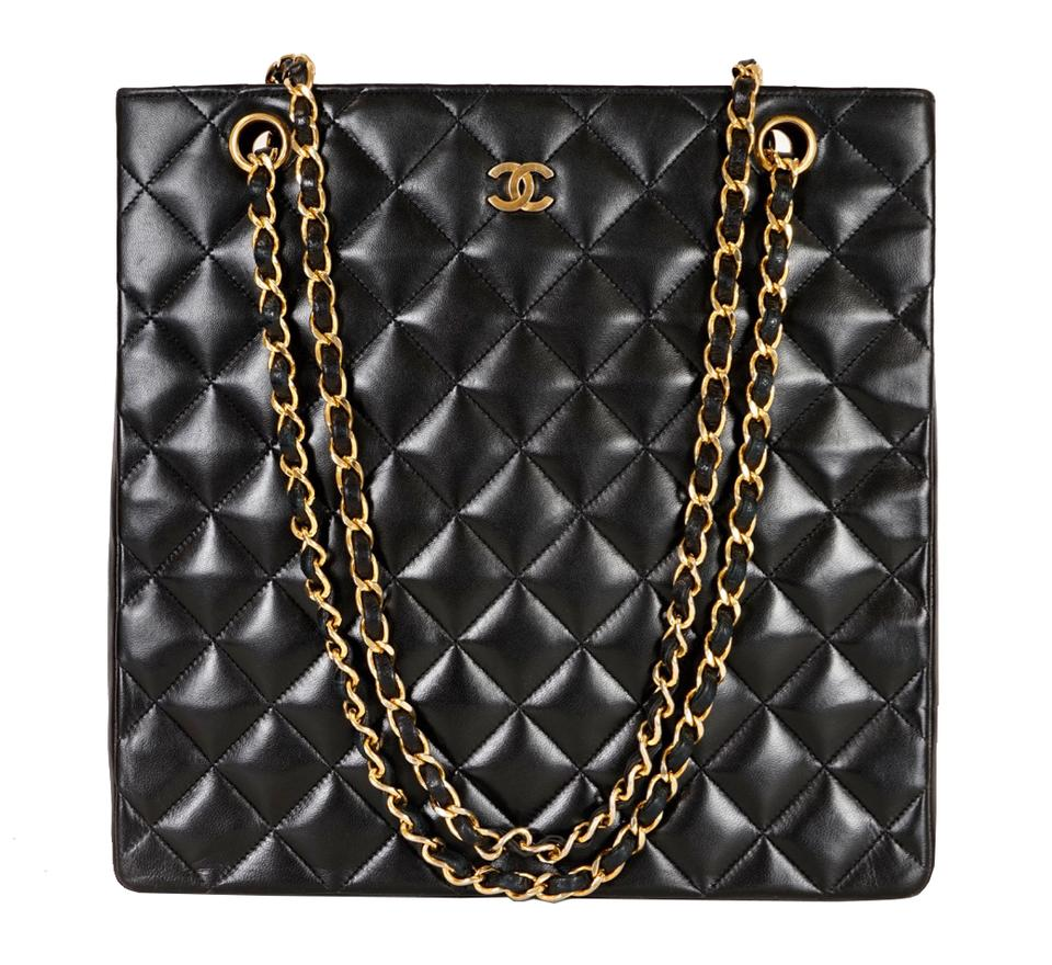 3a0117a71b1b Chanel Shopping Quilted Matelasse Cc Logo Chain Black Lambskin Leather  Shoulder Bag