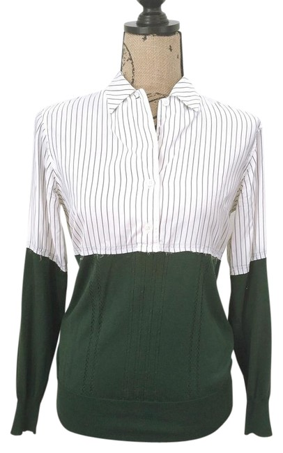 Item - White/Forest Green Striped Colorblock Button-down Top Size 2 (XS)