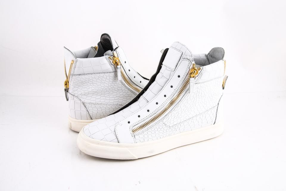 6a37333011569 Giuseppe Zanotti White Croc Embossed High Top Sneakers Shoes Image 0 ...