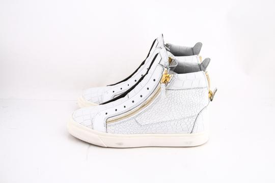 Giuseppe Zanotti White Croc Embossed High Top Sneakers Shoes
