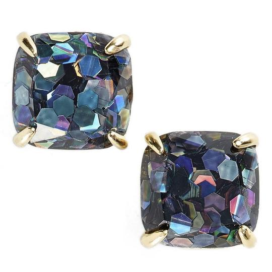 Kate Spade NEW Kate Spade Grey Holographic Large Glitter Stud Earrings 12k Gold