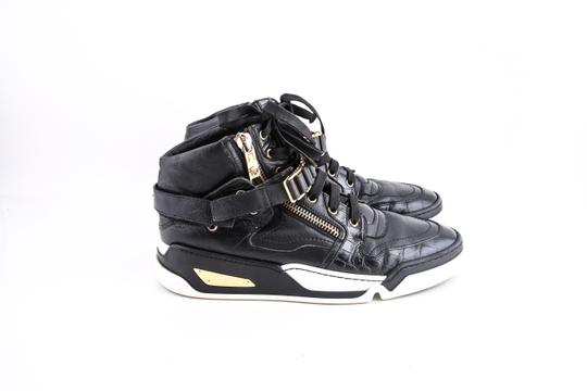 Versace Black Leather Gold Zip High-top Sneakers Metal Chain Velcro Shoes