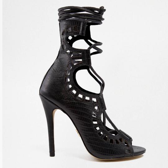 Windsor Smith Stiletto Snakeskin Leather Lace Tie black Platforms