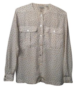 Liz Claiborne Blouse Longsleeve Button Down Shirt Tan and White