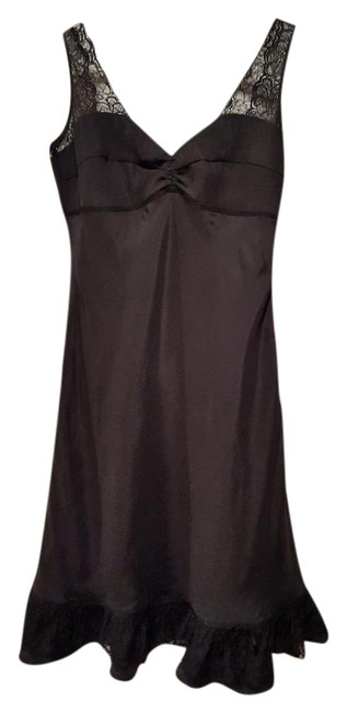 Preload https://img-static.tradesy.com/item/21553724/black-silk-and-lace-ruffle-short-cocktail-dress-size-petite-8-m-0-2-650-650.jpg