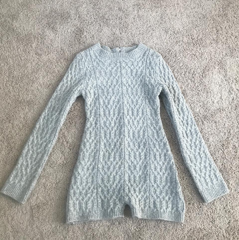 For Love Lemons Gray Knitz By Fll Snow Day Cable Knit Onesie