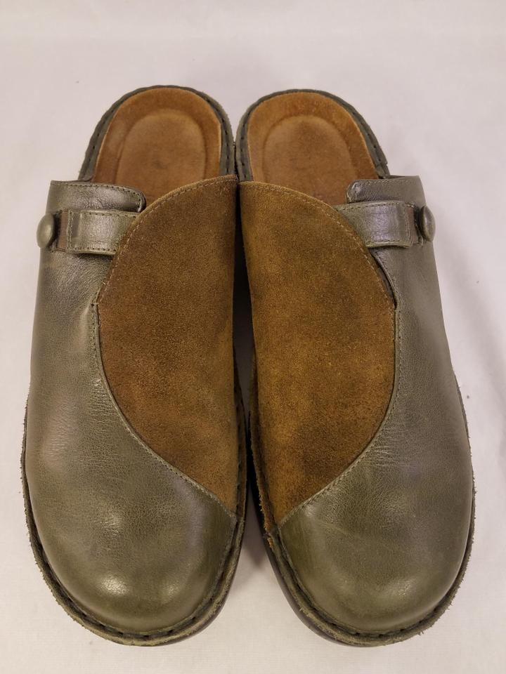 4738bb7b2add31 Naot Footwear Made In Israel Brown and green(taupe) Mules Image 6. 1234567