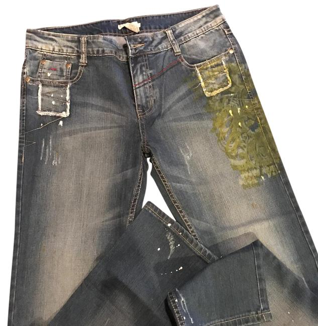 Alberto Makali Leather Distressed Boot Cut Jeans-Distressed