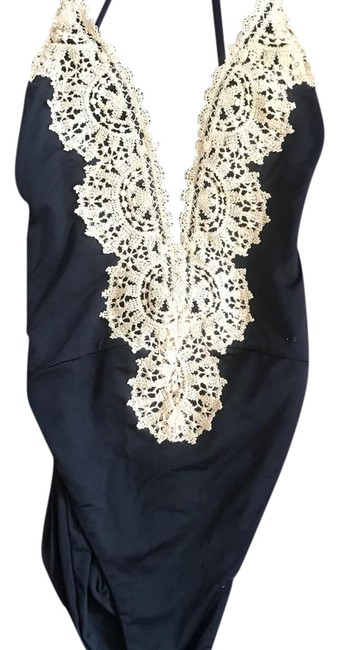 Item - Black and Tan Lace Boho Style One-piece Bathing Suit Size 0 (XS)
