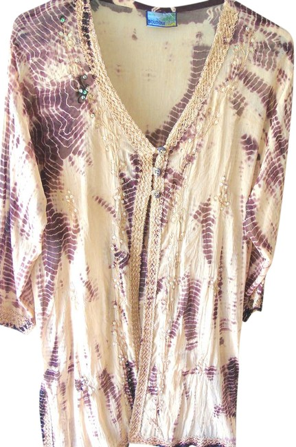 Item - Cream Multi Tie Dye Look Silky Gauze Lounge Robe Cover Up Embroidery Cream/Brown Tunic Size 8 (M)