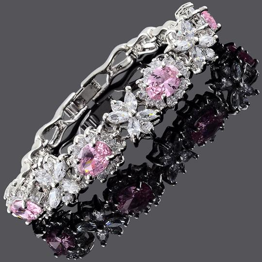 Independant Designer New 14K White Gold Filled W/ Pink Cubic Zirconia Tennis Bracelet A177