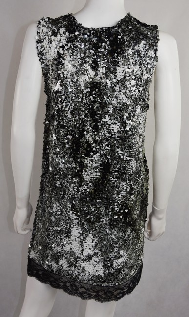 Lisa Nieves Sequin Lace Trim Evening Short Prom Dress