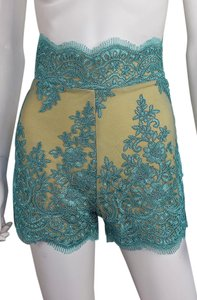 Lisa Nieves Lace Stretch Pants Dress Shorts Turquoise