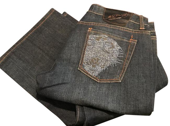 Ed Hardy Embellished Crystal Boot Cut Jeans-Medium Wash