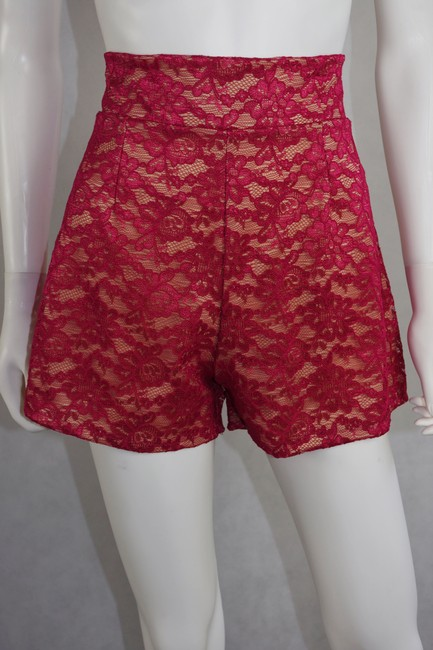 Lisa Nieves Lace Summer Casual Chic Mini/Short Shorts Fucsia