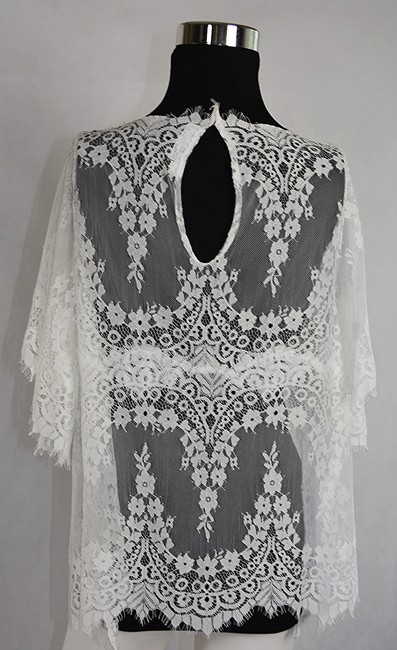 Lisa Nieves Ruffle Lace Casual Formal Chic Top white