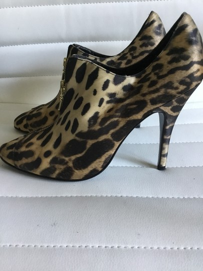 Beverly Feldman Booties Satin Animal Print Boots