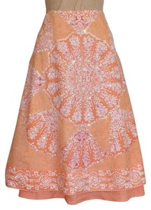 Sweet by Miss Me Floral Beaded Sequined A-line Printed Skirt orange