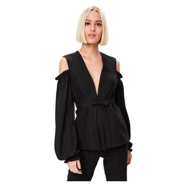 Preload https://item4.tradesy.com/images/black-shoulder-ruffle-tie-front-d40-blouse-size-2-xs-21554258-0-0.jpg?width=400&height=650
