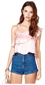 Other Silk One Shoulder Ruffle Top Soft Pink