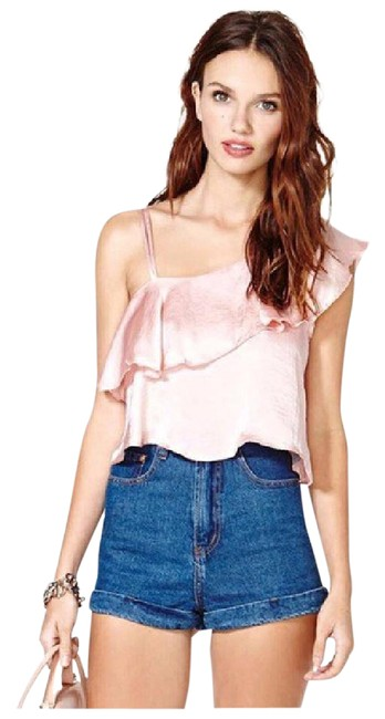 Preload https://item2.tradesy.com/images/soft-pink-silky-one-shoulder-ruffle-d40-blouse-size-6-s-21554311-0-1.jpg?width=400&height=650