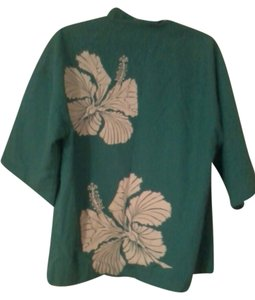 Christiana Designs Honolulu Green Tropical Top Green/White
