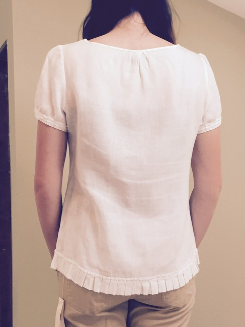 Tracy M Linen Top White