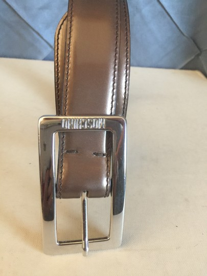 Moschino Bronze Patent leather Silver Square Buckle