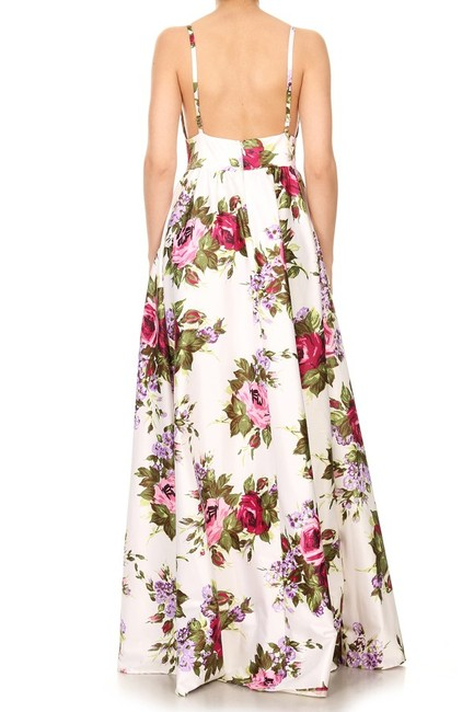 White Maxi Dress by Zema Maxi Floral Flare Sweetheart Party