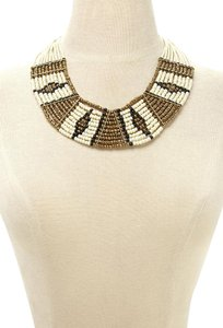 Other Beaded Statement Necklace Tribal African Black Gold Ivory Bib Jewelry