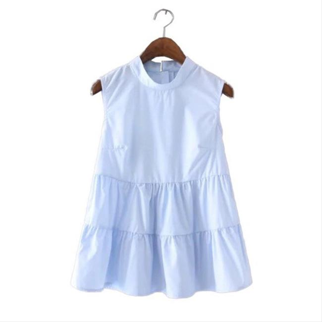 Other Layered Ruffle Babydoll Top Blue