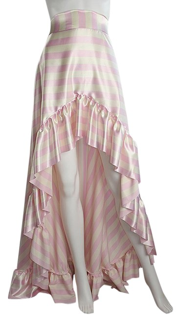 Preload https://item1.tradesy.com/images/lisa-nieves-pink-and-white-pin-stripe-satin-ruffle-high-low-maxi-skirt-size-6-s-28-21554495-0-1.jpg?width=400&height=650