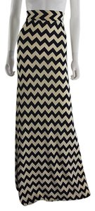Lisa Nieves Chevron Casual Stretchy Summer Maxi Skirt beige and black