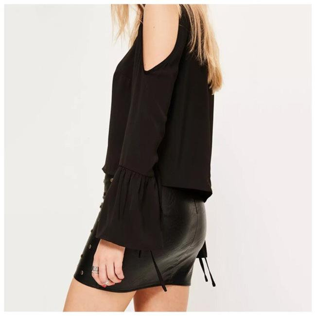 Other Shoulder Tie Sleeve Top Black