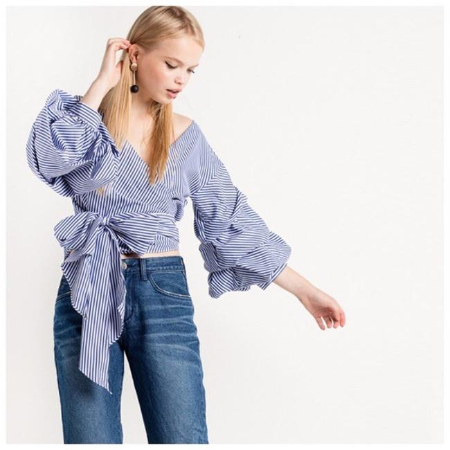 Other Stripe Puff Sleeve Wrap Top Blue & White
