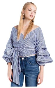 Other Striped Puff Sleeve Wrap Top Blue & White