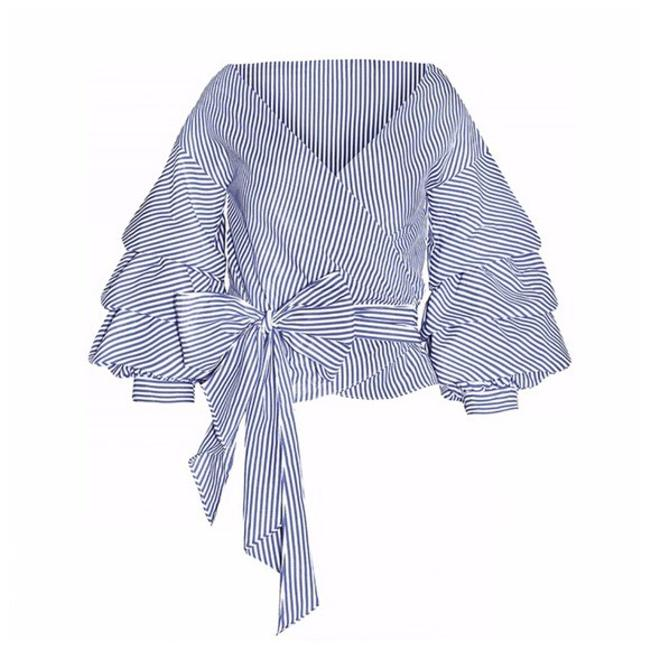 Other Striped Puff Wrap Top Blue & White