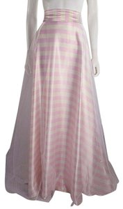 Lisa Nieves Striped Prom Satin Formal Maxi Skirt Pink and white