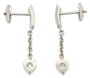 Cartier Diamond Hearts 18k White Gold Drop Dangle Earrings