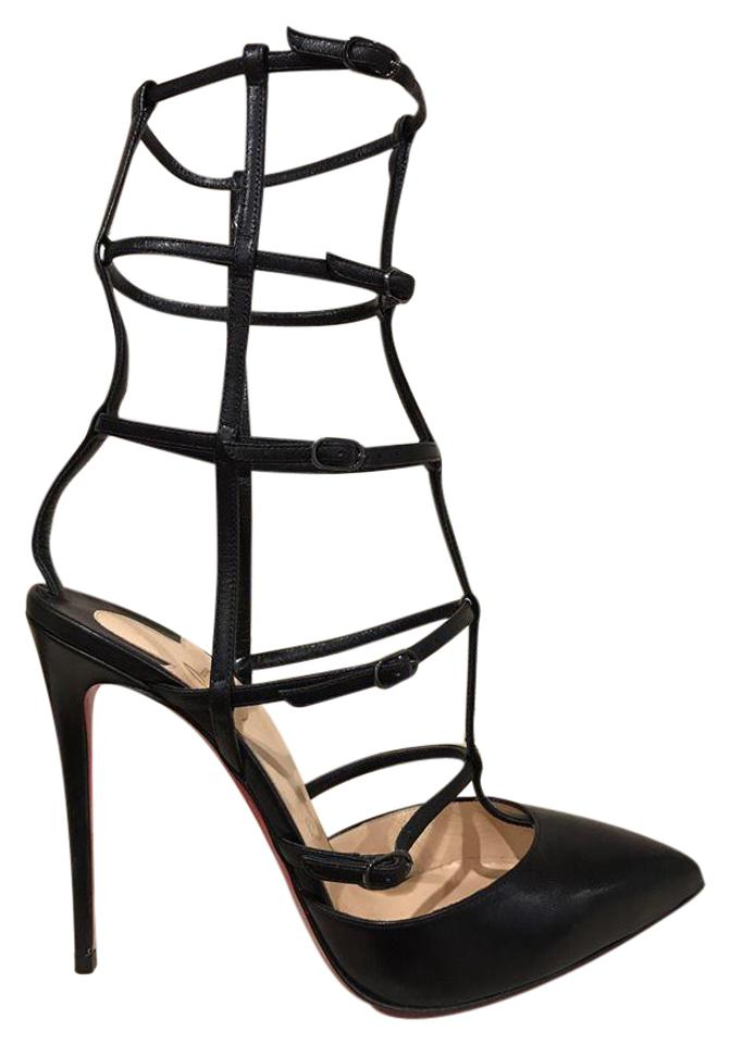 671a814715c Christian Louboutin Black Kadreyana 100 Leather Caged Strappy Heel 37.5  Pumps