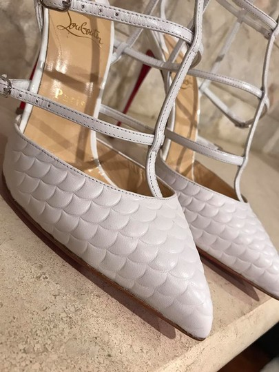 Christian Louboutin Kadreyana Stiletto Leather Ankle Strap Caged white Pumps
