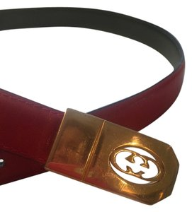 Gucci Gucci Red Leather Belt with Gold Gucci Cutout Insignia Buckle 33